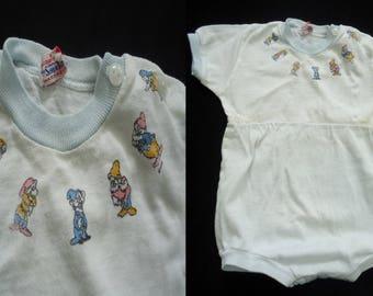 Seven Dwarfs Disney Print Vintage 1950's Unisex Baby Romper 12 Mon