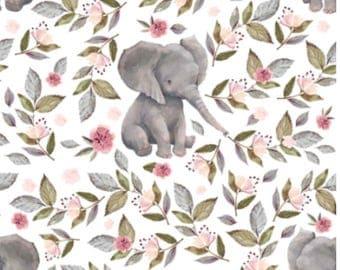Elephant Baby Girl Bedding,  Girl Crib Sheet, Changing Pad Cover, Minky Blanket, Toddler Girl, Custom Bedding Set, Personalized Blanket