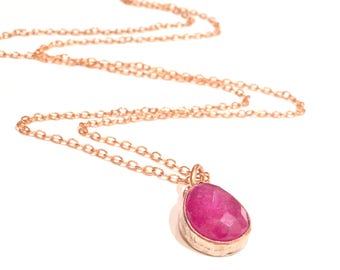 Pink Sapphire Necklace Hot Pink Jewelry Raw Ruby Necklace Pink Ruby Copper Necklace Artisan Jewelry Handmade Genuine Ruby Pink Sapphire