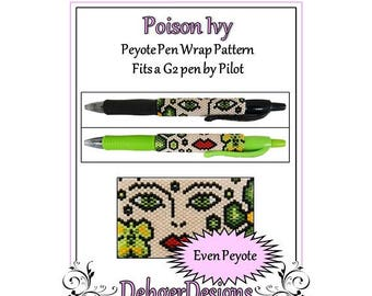 Peyote Beading Pattern (Pen Wrap/Cover)-Poison Ivy