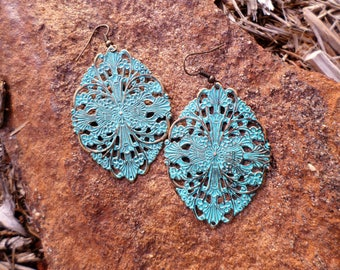 Large Boho Filigree Turquoise Patina Dangle Drop Earrings
