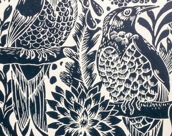 Birds Lino Print Blue Teal