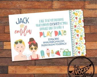 Cute Summer Play Date Calling Card - DIY Printing or Professional Prints via Convo