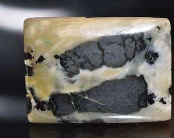 18x25x5mm Unique & Rare:Genuine HUBEI TURQUOISE w/Black Matrix Rectangle Cabochon  ***Old Stock - G1066