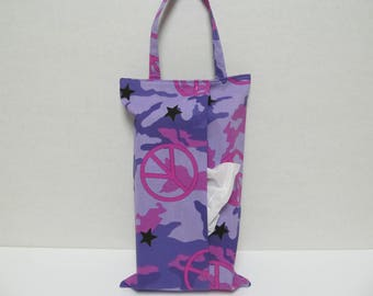 SALE/Small Defect/Hanging Tissue Box Cover For Skinny Kleenex/Purple Camouflage