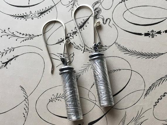 Art Deco Earrings, Cylinder Beads, Silver Dangle Earrings, Asian Style Jewelry