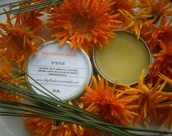 Salve made with Calendula or Mullein / Cocoa butter or Shea butter / Tea Tree Lavender Rosemary Pine Ylang Ylang Tangerine Myrrh Patchouli