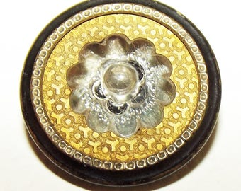 Antique Button ~ Metal Button ~ Vest Button ~ Glass in Metal Button