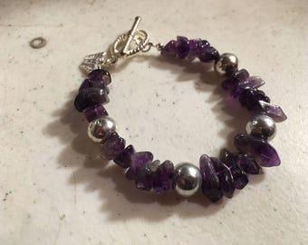 Purple Bracelet - Agate Jewelry - Silver Jewellery - Gemstone - Fashion - Butterfly Charm
