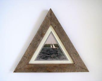 Vintage rustic framed wall decor/coastal/ framed photo sailboat/ wood frame triangle/beach