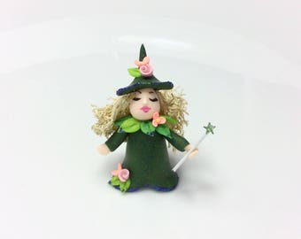 Miniature Fairy Godmother for 1:48 scale doll house handmade from polymer clay