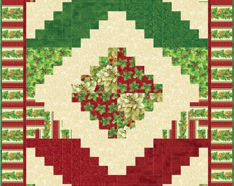 Log Cabin Quilt Pattern, 2418-8, Christmas log cabin quilt, christmas lap quilt