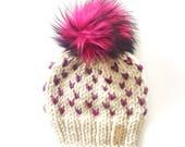 Baby Pom-Pom Beanie, Pink Pom Pom Beanie, Baby girl Hat, baby beanie, Faux Fur Pompom hat, hand knit hat, Ready to Ship