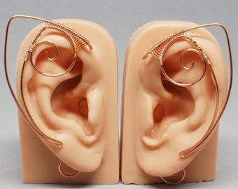 SALE - Copper Elf Ear Cuffs, Elf Ear Wrap - PAIR - Fantasy and Cosplay Accessories