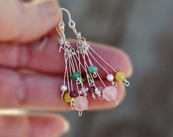 Silver Cluster Earrings. Dangle Earrings. Long Delicate Colorful Gemstone Earrings. Silver Jewelry. Handmade. Made in Israel. Free Shipping