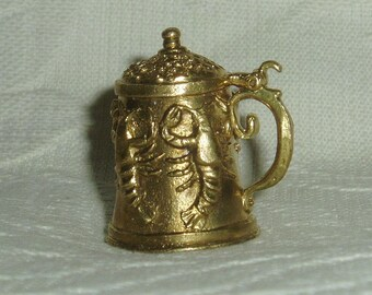 "Russian Сollectible Decorative Brass Thimble ""Beer mug with crawfishes"""