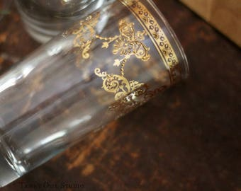 Vintage Cutler Highball Glasses with Gold,  shabby chic