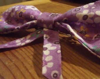 Purple Floral Fabric Hair Bow Accessory Hair Clip Barrette