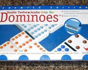 Premier Edition - Double Twelve - Jumbo Color Dot Dominoes - 91 Shiny Colored Dot Dominoes w/ Handy Vinyl Carrying Case - Cardinal 1997