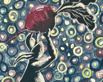 Bunny painting, dancing bunny painting, bunny wall art, wood wall art, colorful bunny, Rabbit art