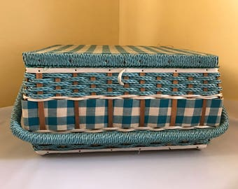 Vintage Blue & White Check Sewing Box Made for Singer