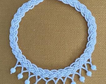 Vintage Milk Glass Necklace Braided