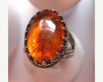 Summer time Sale Event Golden Glow Natural Amber Cabochon Sterling Silver Ring handmade fine jewelry size 4 4.5 5 5.5 6 6.5 7 7.5 8 8.5 9 9.