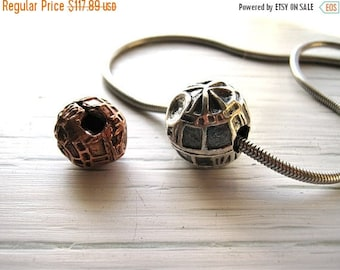 Summer time Sale Event Hand Formed Death Star in Fine Silver/ Free Silver tone Omega Neck wire Included
