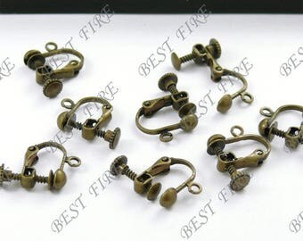 300pcs of Antiqued brass leverback ear clip screw 14x16mm
