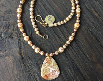 Fossil coral and pearl necklace, fossilized coral necklace