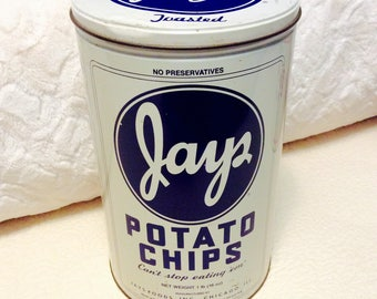 Vintage JAYS POTATO Chips Tin Container Blue White Americana Advertising Fathers Day
