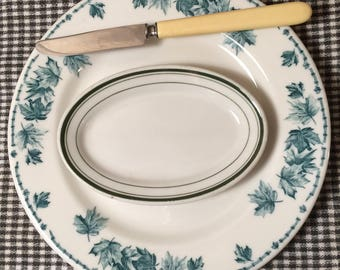 Vintage Hotel Ware Small Platters 1930's Diner Dishes Green Striped Mini Platters Serving Saucers Vitrified China Jackson China