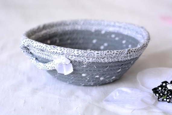 Gray Candy Dish, Cute Ring Holder Tray, Handmade Fabric Bowl, Small Fabric Dish, Cute Desk Accessory Basket, Soft Fiber Pottery