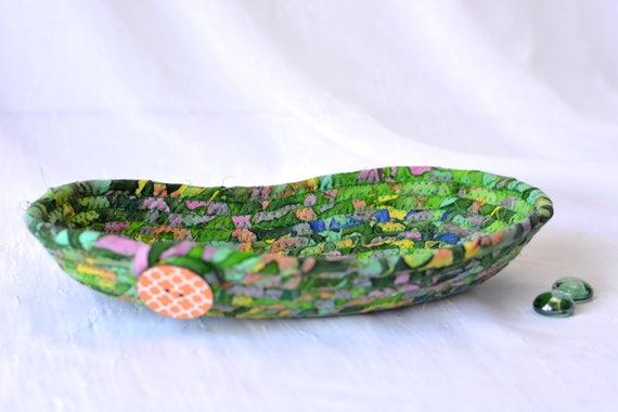 Boho Decorative Basket, Handmade Green Bowl, Eyeglass Dish, Batik Cotton Basket, Boho Chic Fabric Bowl, Key and Change Bowl