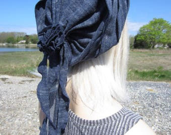 Knit Hat Slouchy Beanie Women's Bohemian Clothing Slouch Tam Indigo Blue Cotton Rose Rag Tie Back Gypsy Clothes  A1667