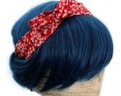Bandeau Cheveux Turban Headband Rouge Fleurs de Cerisier Japonais