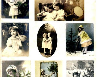 104 - Vintage image sheet by cutting children Christmas 1900