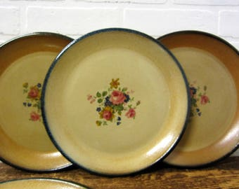 """Four Monroe Salt Works 11"""" Dinner Plates with Chippendale Rose Monroe Maine"""