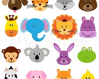 BACK TO SCHOOL Sale Animal Faces Clipart Clip Art, Zoo Jungle Farm Barnyard Forest Woodland Animal Clipart Clip Art - Commercial and Persona