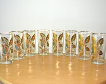 Mid Century Modern Gold Green and Periwinkle Leaf Glassware Set