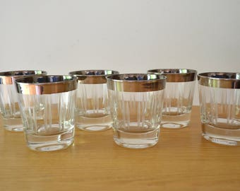 Mid Century Silver Rimmed Glass Cocktail Glasses Set of 6