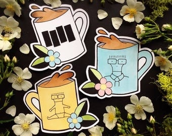 Black Flag and Descendents Milo Coffee Mug STICKER PACK by Michelle Kent