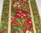 Sale Christmas in July Christmas Table Runner,  Poinsettias, quilted, fabric  from Holiday Flourish