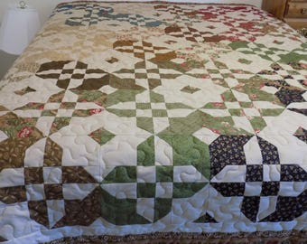 Queen disappearing hourglass handmade Quilt 93 1/2  x  83 1/2