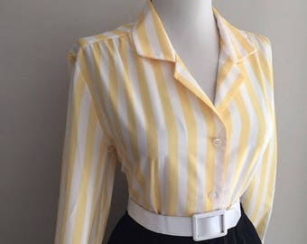 Vintage 1950s 1960s Blouse ~ Yellow Striped Blouse ~ Long Sleeve Shirt ~Button Down Blouse Top ~ Mad Men ~ Rockabilly Pin Up Lucy Blouse