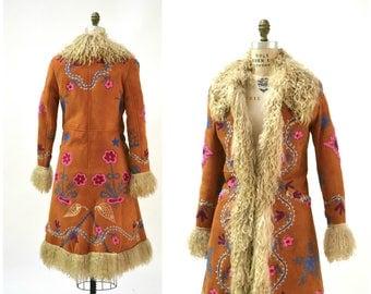 Vintage Embroidered Shearling Afghan Jacket Coat Small//  70s Shearling Coat Embroidered Sheepskin Fur Boho Afghan Jacket Penny Lane Yaqub