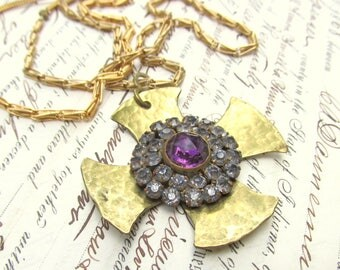 Vintage Maltese Cross Pendant with Rhinestone Cluster in the center on Long Gold Chain c. 1960s