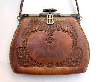 Art Nouveau Tooled Leather Purse with Peacocks ANTIQUE c. 1890-1910s Vintage Brown Leather Bag