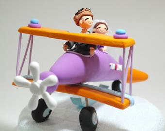 Bi Plane theme wedding cake topper