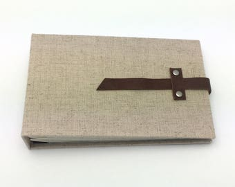 Mini Photo Album, Natural Linen with Leather Accent, holds 36 4x6 photos, In Stock